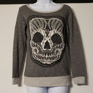 Wet Seal Grey Sugar Skull Lace Sweatshirt S